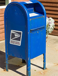 Blue USPS Collection Box